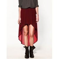 Vintage Irregular Chiffon Skirt Red