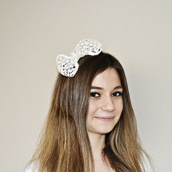 Ivory Lace Bow Bridal Hair Band