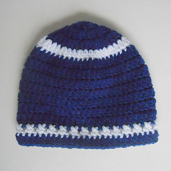 Infant  Blue Hat With White Stripes  Baby  Girl Cap Boy  Winter Beanie 6 To 12  Months Skullcap Gender Neutral Fall Clothing