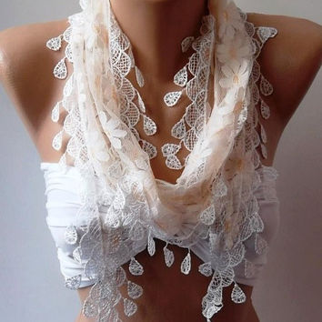 Elegance  Shawl // Scarf with Lacy Edge.