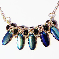 Beaded peacocck blue necklace, seed bead necklace, unique necklace, Elegant Necklace for You