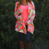 PREORDER: Neon Native Cardigan: Gray/Neon Pink