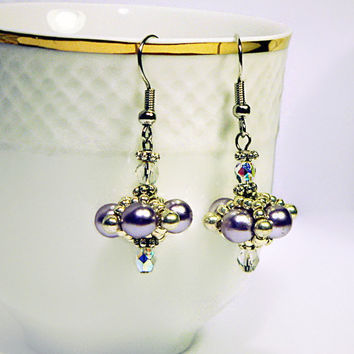 Bead Earrings, Beadwork Earrings, Pearly Earrings, Light Purple Earrings