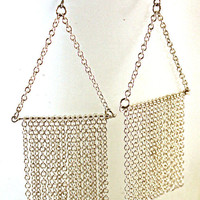 Silver Chain Fringe Sweep Earrings