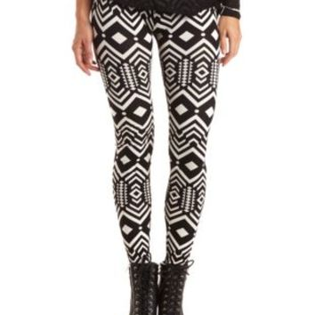 Cotton Geometric Print Leggings by Charlotte Russe - Black/Ivory