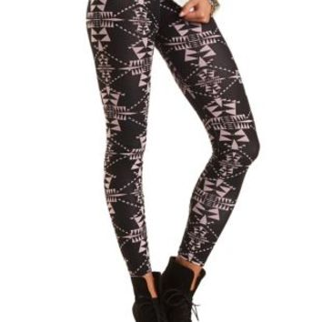 Cotton Tribal Printed Leggings by Charlotte Russe - Black Combo