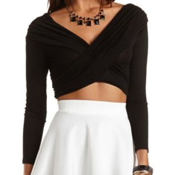 Long Sleeve Ruched Wrap Crop Top by Charlotte Russe