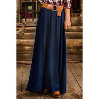 Stand Beside Me Maxi Skirt-Navy