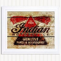 Vintage Art Print - Indian Motorcycles - 11 x 14
