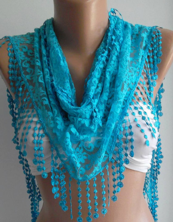 Blue / Elegance  Shawl / Scarf with Lacy Edge -Feminine