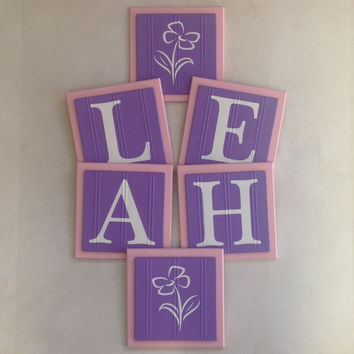 Purple Pink Names Sign, Wall Letters Room Decor, 6x6 Personalized Wooden Plaques for LEAH with Flowers Painted Lilac Custom Baby Girl Gifts