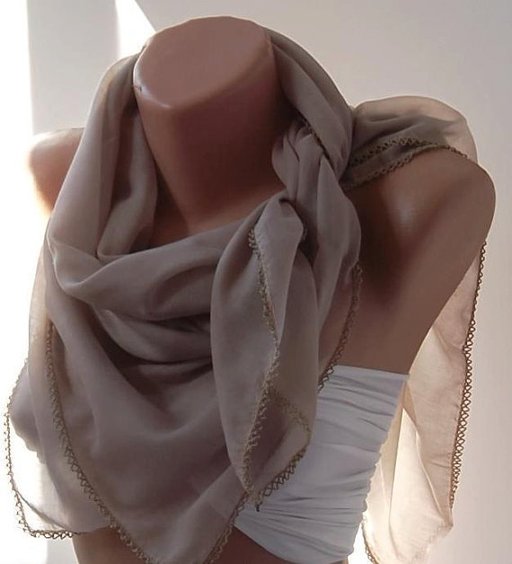 Stone Color - Shawl with Lace.Very Soft cotton fabric.
