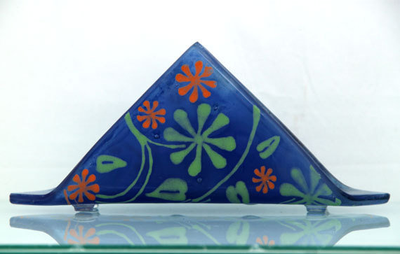 Fused glass  napkin holder - art nouveau Flowers pattern On Violet blue background.