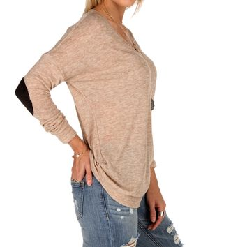 Taupe Elbow Patch Top
