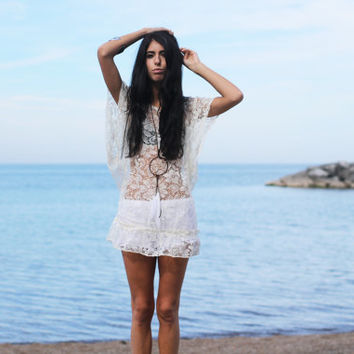Ivory Sheer Lace Tunic Dress.