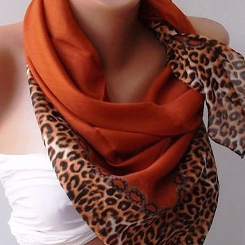 Brick Color-Leopard. Very Soft cotton fabric.
