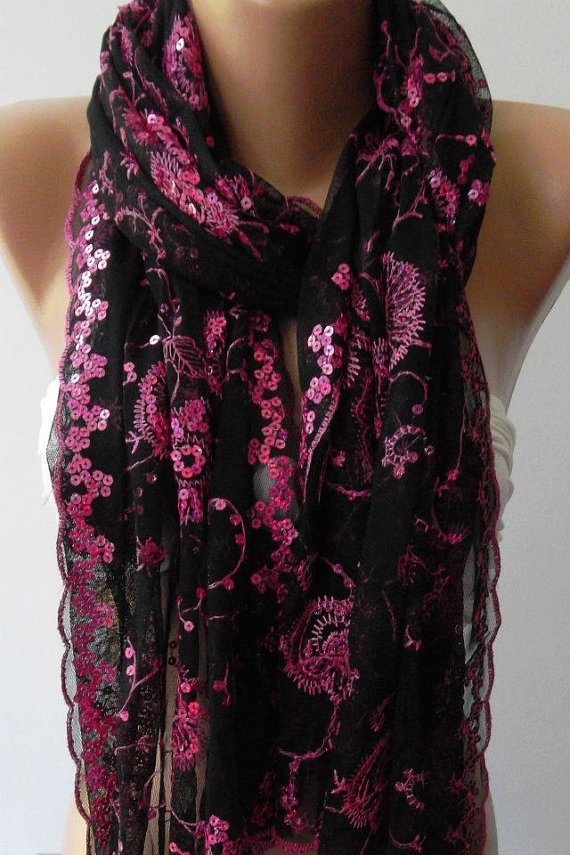 Pink /Black - Elegant -Turkish Shawl / Scarf