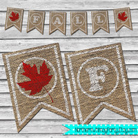 Burlap Fall Red Maple Leaf Banner – DIY Printable Fall Home Decor – Autumn Leaves Decoration – Rustic Burlap Banner - INSTANT DOWNLOAD