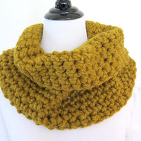 Chunky mustard cowl, crochet infinity scarf, neck warmer autumn color, gift under 40