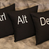 SALE Ctrl , Alt. Del -  3 Embroidered  Decorative Pillow Case/Covers