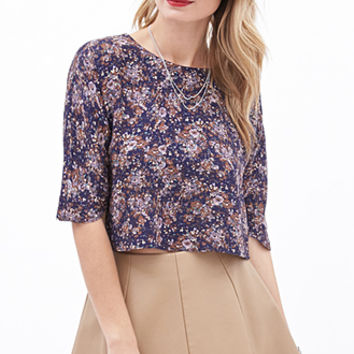 LOVE 21 Floral Print Crop Top Purple/Cocoa
