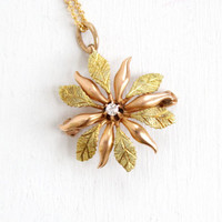 Antique 10k Rose & Yellow Gold Diamond Flower Leaf Edwardian Necklace- Starburst Fine Pendant Brooch Jewelry with Raised Diamond
