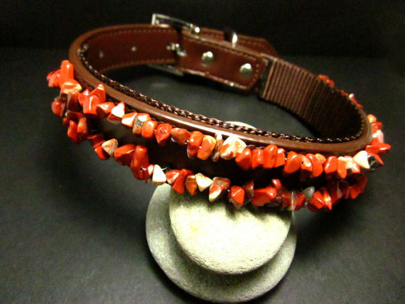 Large Brown Leather Beaded Dog Collar with Red Jasper Chip Beads