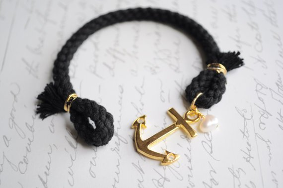 Golden Girl-- Anchor clasp summer bracelet- Black cord and gold anchor-- Fresh water pearl