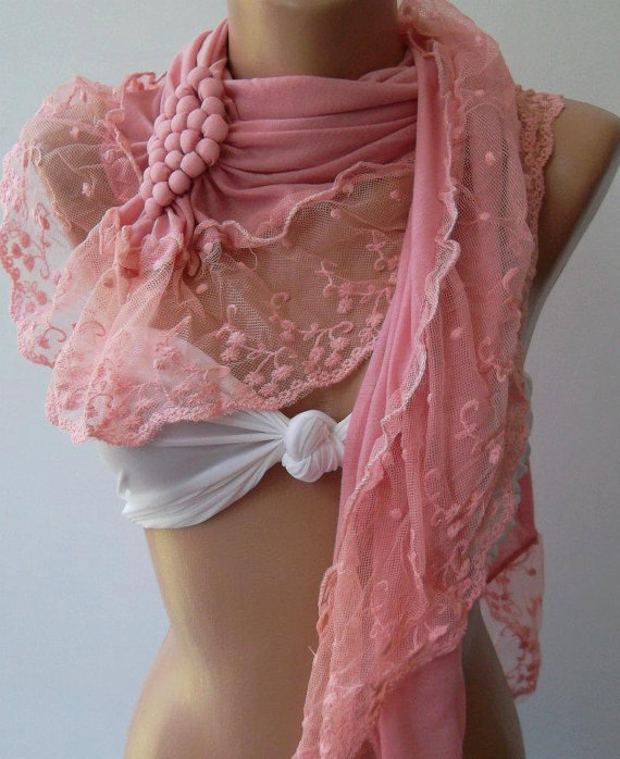 Pink /Elegance  Shawl - Scarf with Lacy Edge