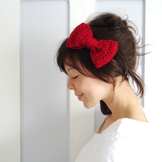 Crochet Bow Hair Band Red from ChiChiDee on Etsy Hair