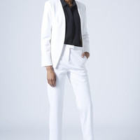 TEXTURED SCUBA BLAZER AND CIGARETTE TROUSERS