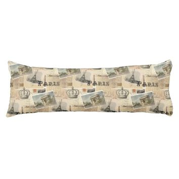 French Postcard Paris Body Pillow