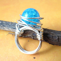 Blue Crackle Bead Ring