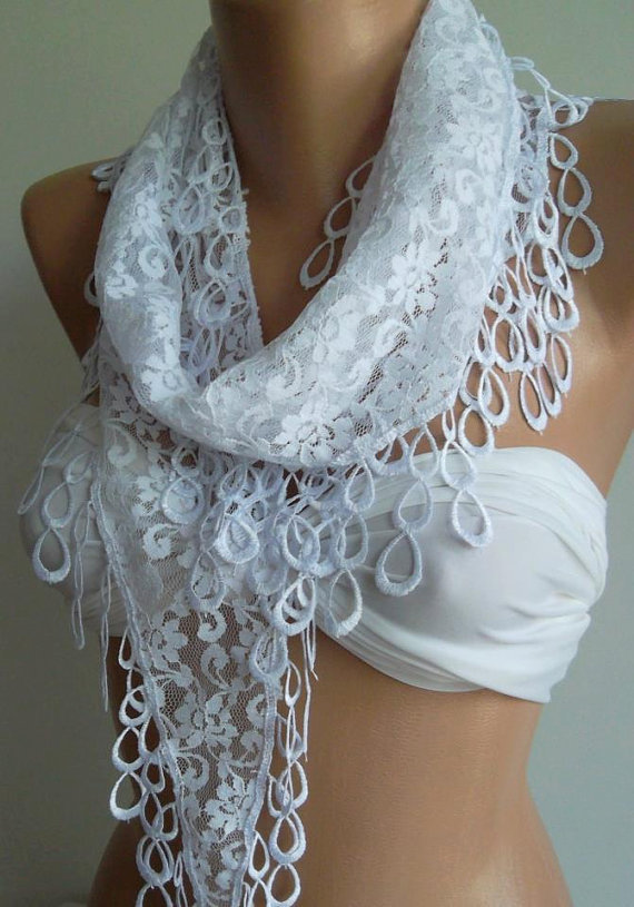 White -- Elegance  Shawl / Scarf with Lacy Edge--