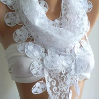 White - Elegance  Shawl / Scarf with Lacy Edge--