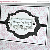 ON SALE Pink Birthday Card / Happy Birthday Card
