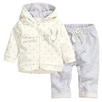 H&M - Hooded Jacket and Pants - Natural white - Kids