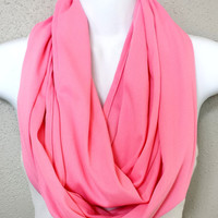 Breast Cancer Awareness Pink Knit Infinity Scarf Womens Fall Scarves Pink Girls Knit Winter Circle Scarves Eternity Loop Pink