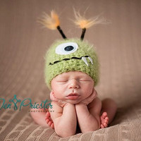 Green Monster Newborn Baby Hat, Photography Prop