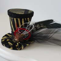 Mini Top Hat -Black and Gold Mini Top Hat - Party Hat - Tea Party Hat - Mad Hatter