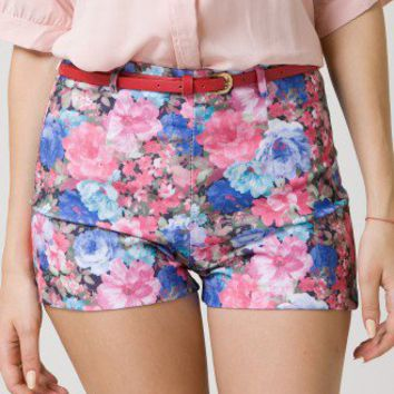 Floral Print Shorts with Belt - Retro, Indie and Unique Fashion