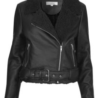 **BLACK PU CROPPED BIKER JACKET BY OH MY LOVE