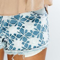 Denim Cut Off Shorts with Crochet Detail