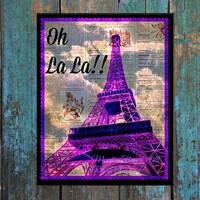 Eiffel Tower OH LA LA Dictionary Digital Art