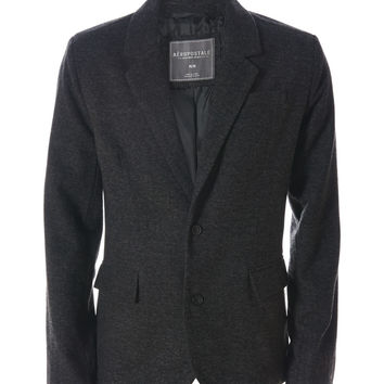 Aeropostale Wool Blazer - Charcoal Heather Grey,