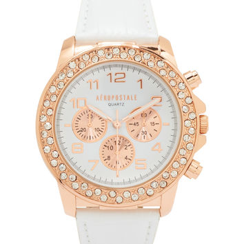 Aeropostale Faux Leather Watch - Rose Gold, One