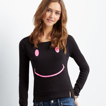 Aeropostale Long Sleeve Smiley Tee - Black,