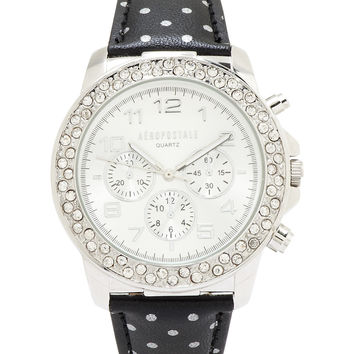 Aeropostale Polka Dot Faux Leather Watch - Silver, One