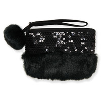 PS from Aero  Kids' Faux Fur Sequin Pouch - Black, One