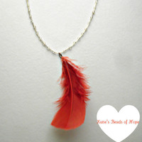 Fire Orange Hand Made Feather Necklace